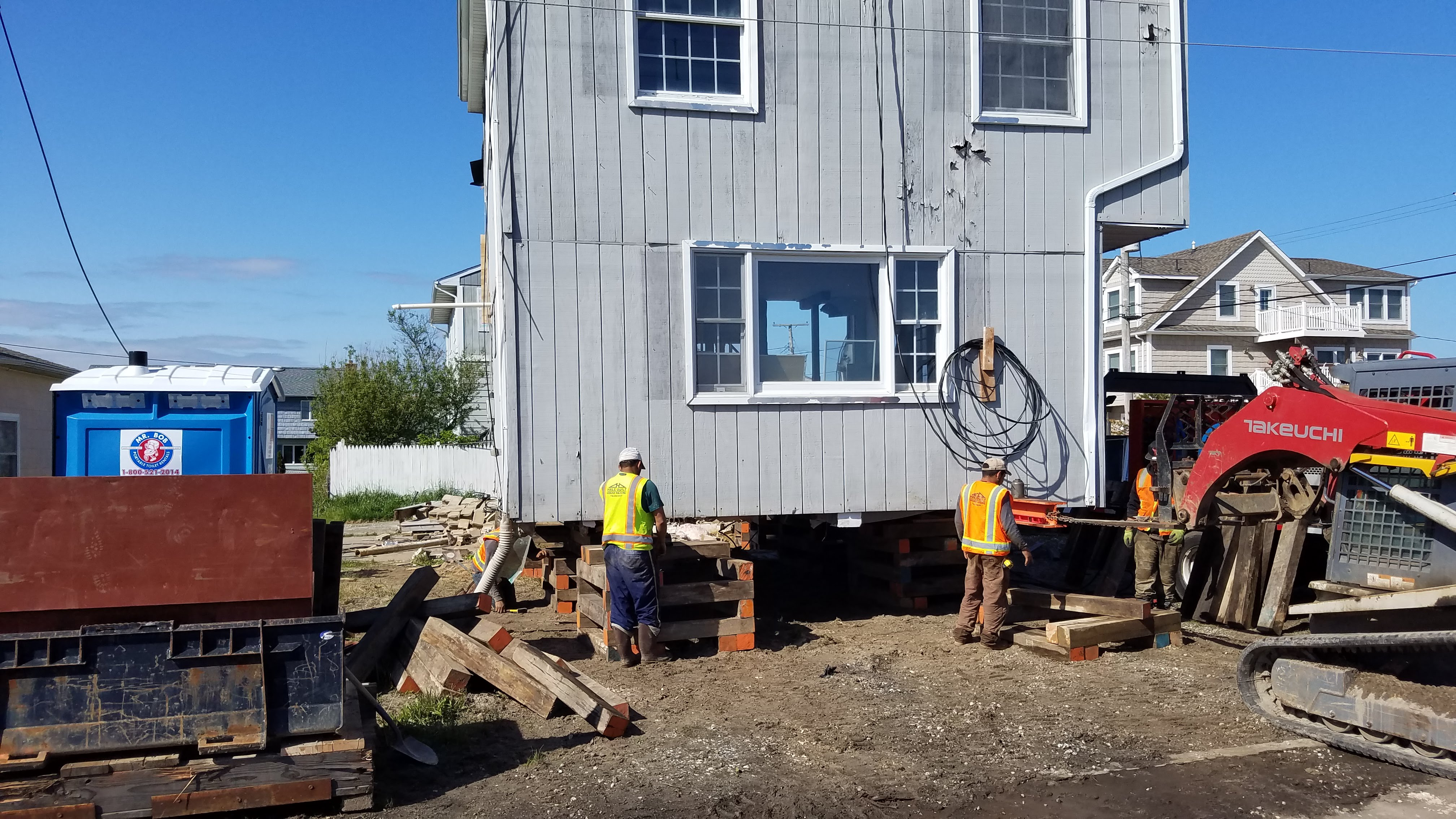House raising and timber pile foundation installation in Bay Head, NJ